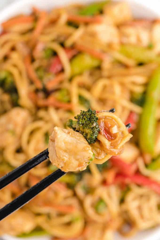 chopsticks holding Chicken Lo Mein
