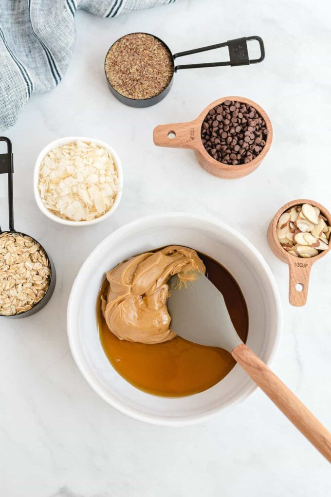 peanut butter, honey, and vanilla extract in a mixing bowl