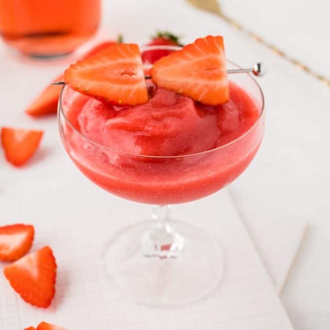 strawberry frose in a glass