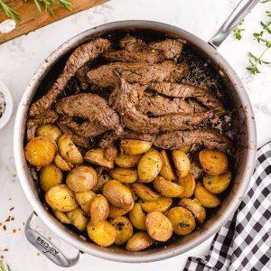garlic butter steak and potato skillet