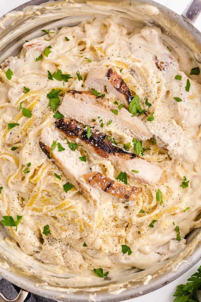 One-Pot Creamy Italian Chicken in a pan