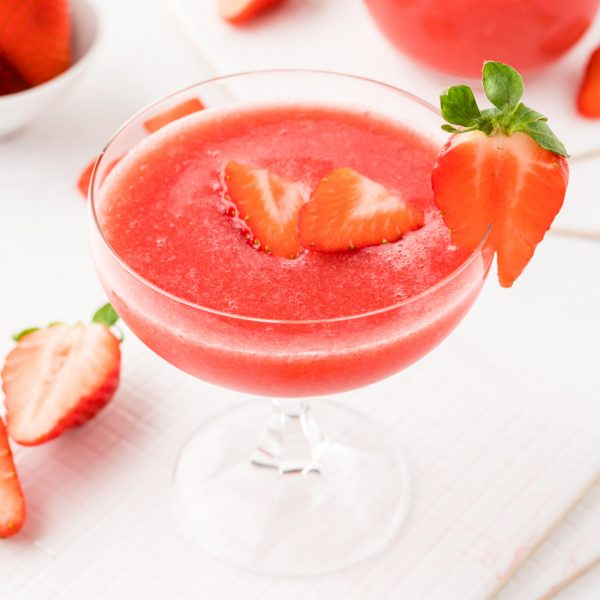 frose wine slushie with strawberries