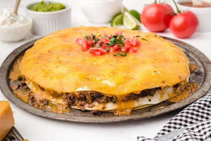 taco pie on a round serving platter