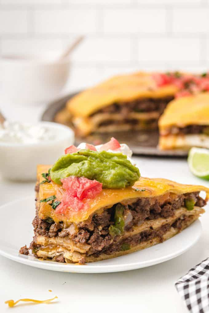 bite out of piece of taco pie