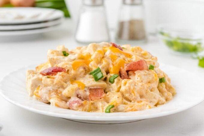 crack chicken casserole in a plate