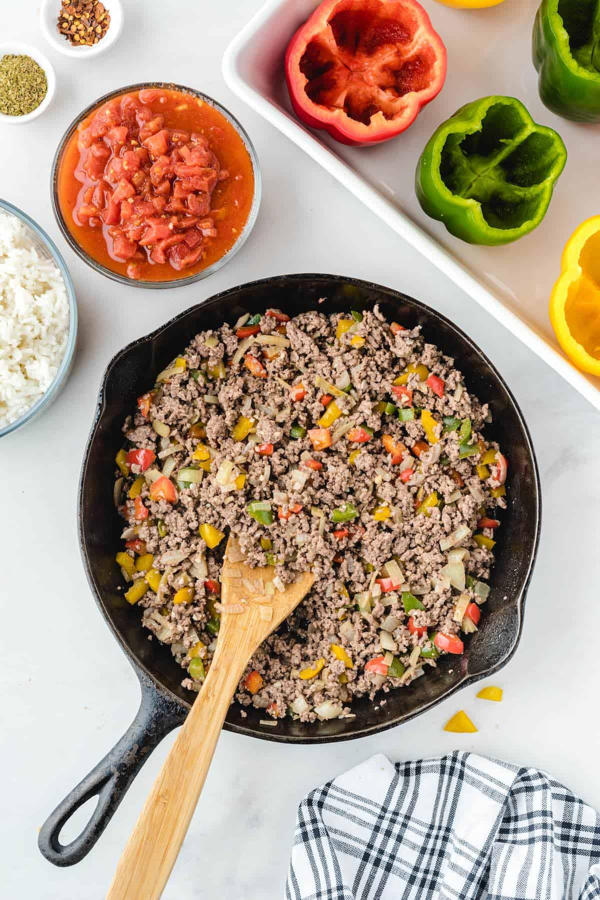 ground beef and garlic mix together in a pan