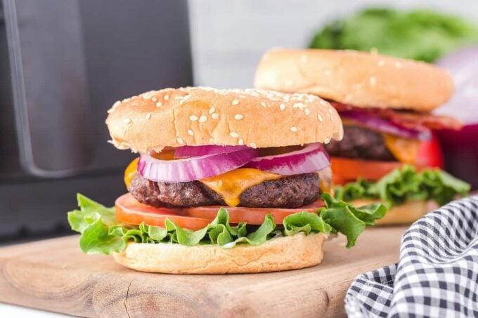 air fryer hamburger