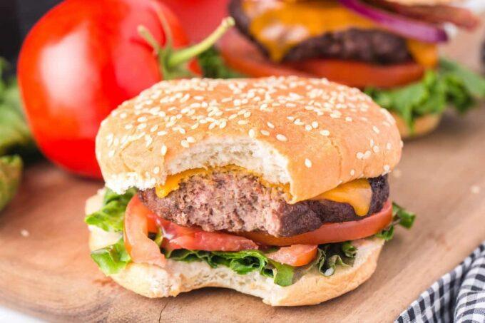 bitten hamburger