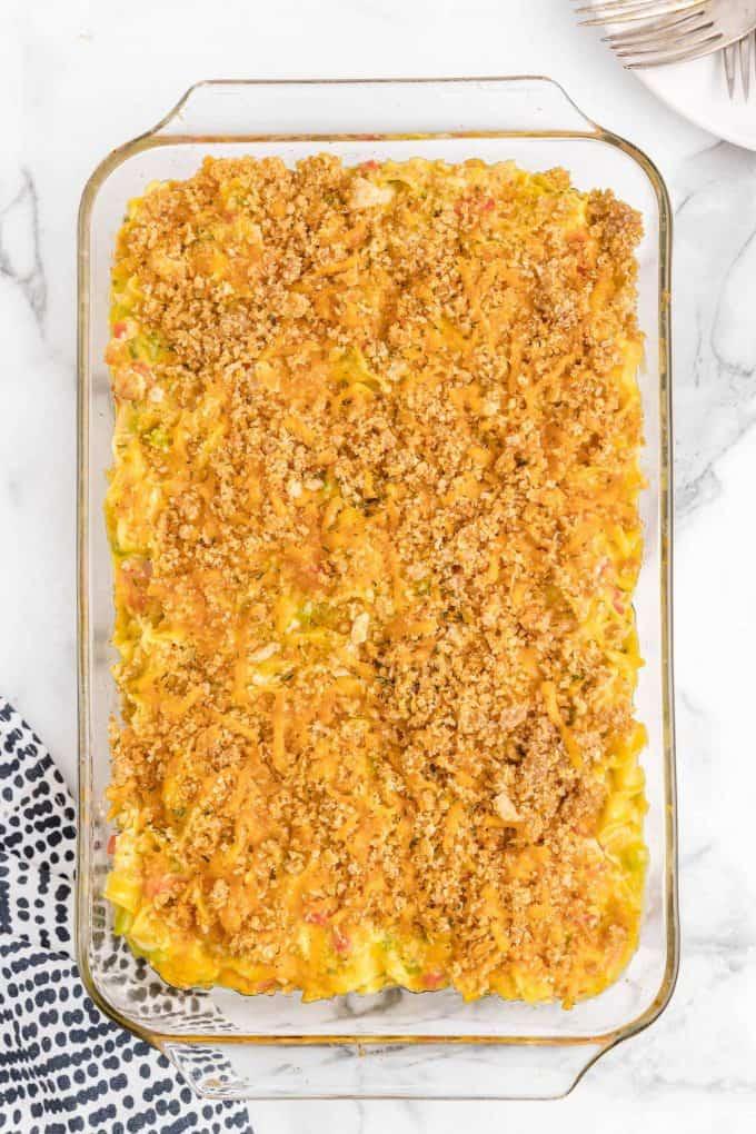 ritz chicken casserole in a baking dish