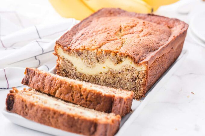 cream cheese banana bread cut in slices