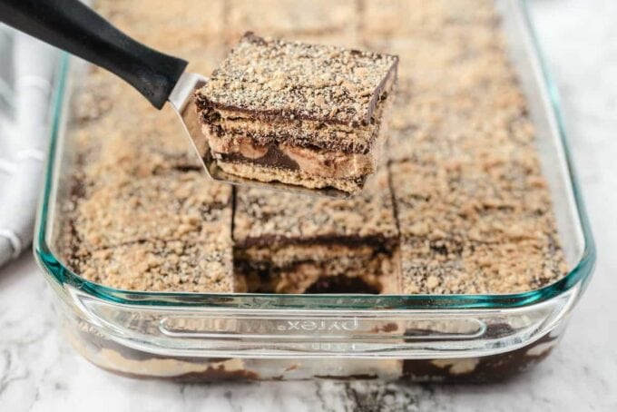 disneyland peanut butter squares in a glass baking dish