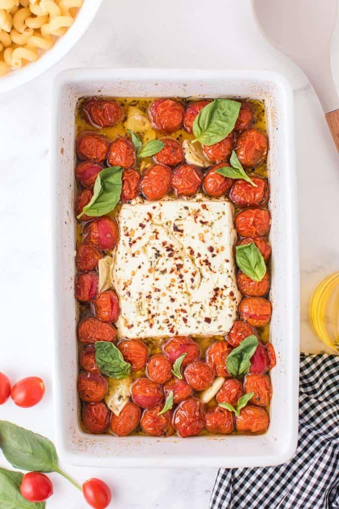 feta cheese block in a baking dish