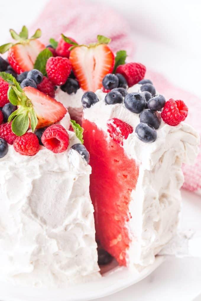 a slice of fresh watermelon cake