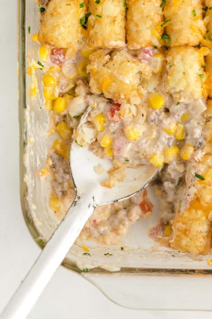scoop in the casserole using big spoon