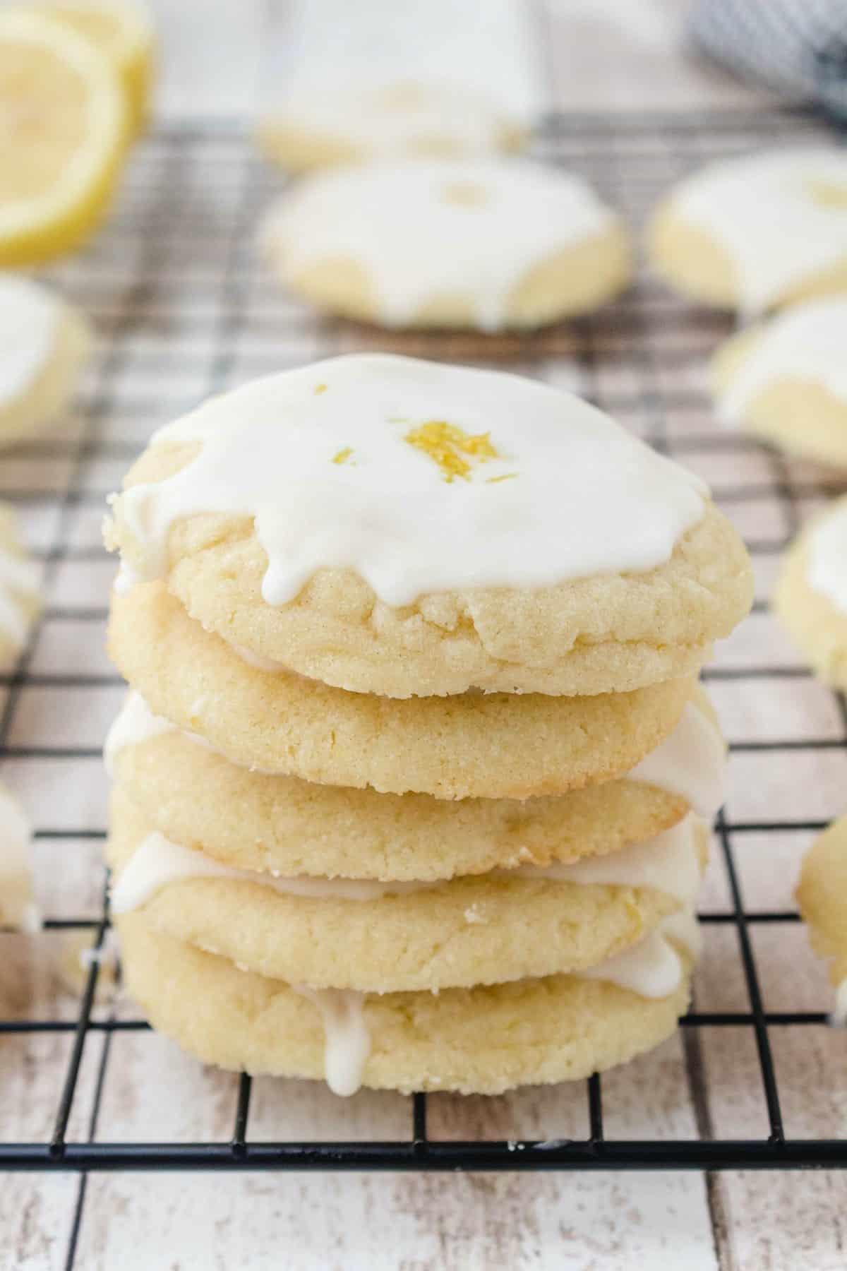 lemon cookies in a stack