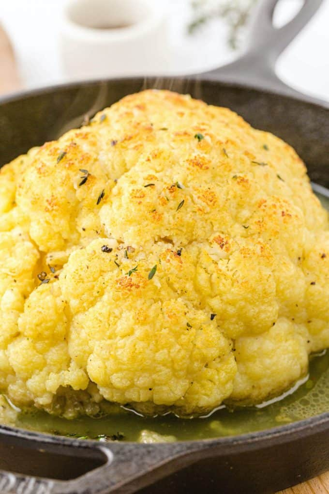roasted cauliflower in a pan