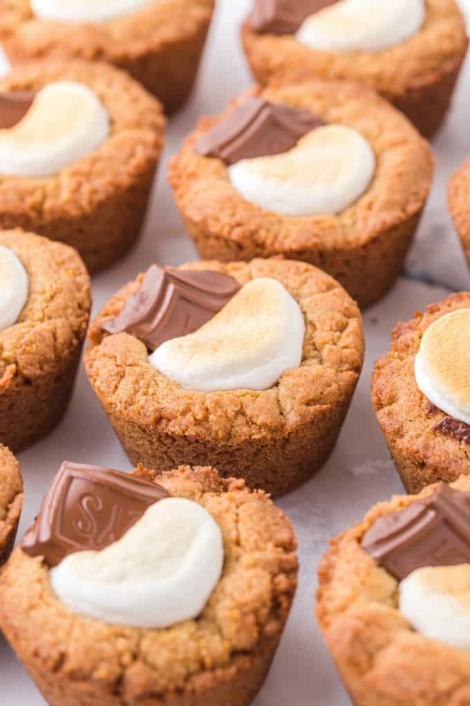zoomed in smores cookie cups in muffin tin
