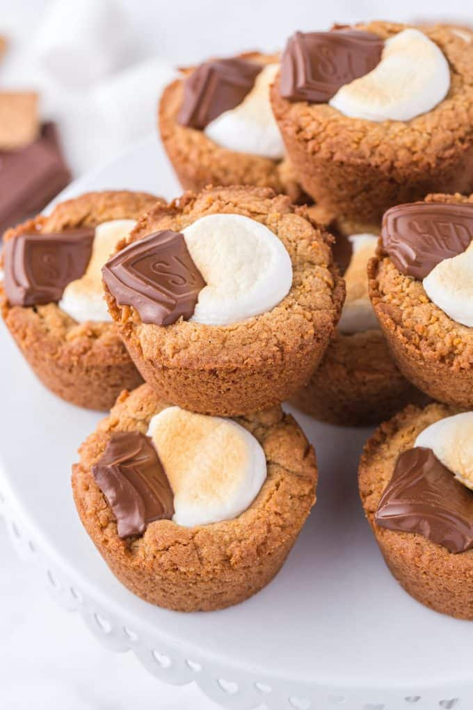 smores cookie cups stacked