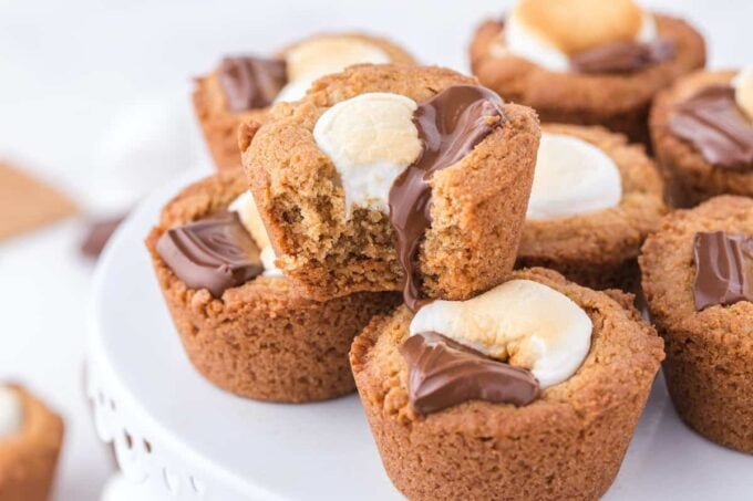 smores cookie cups in stack