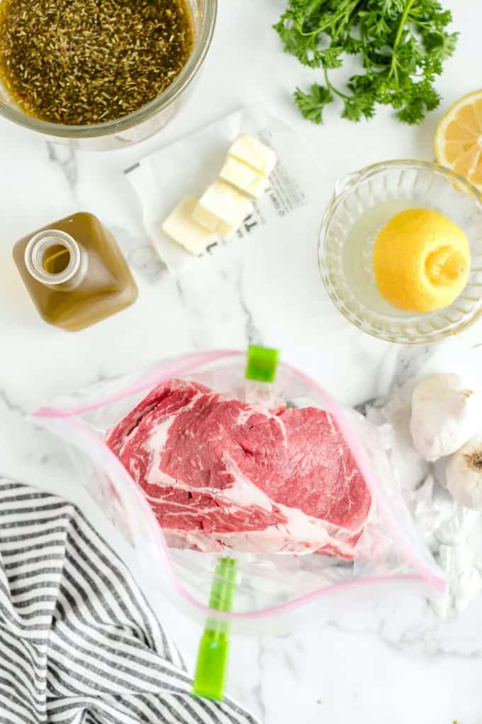 steaks in a large gallon sized ziplock bag