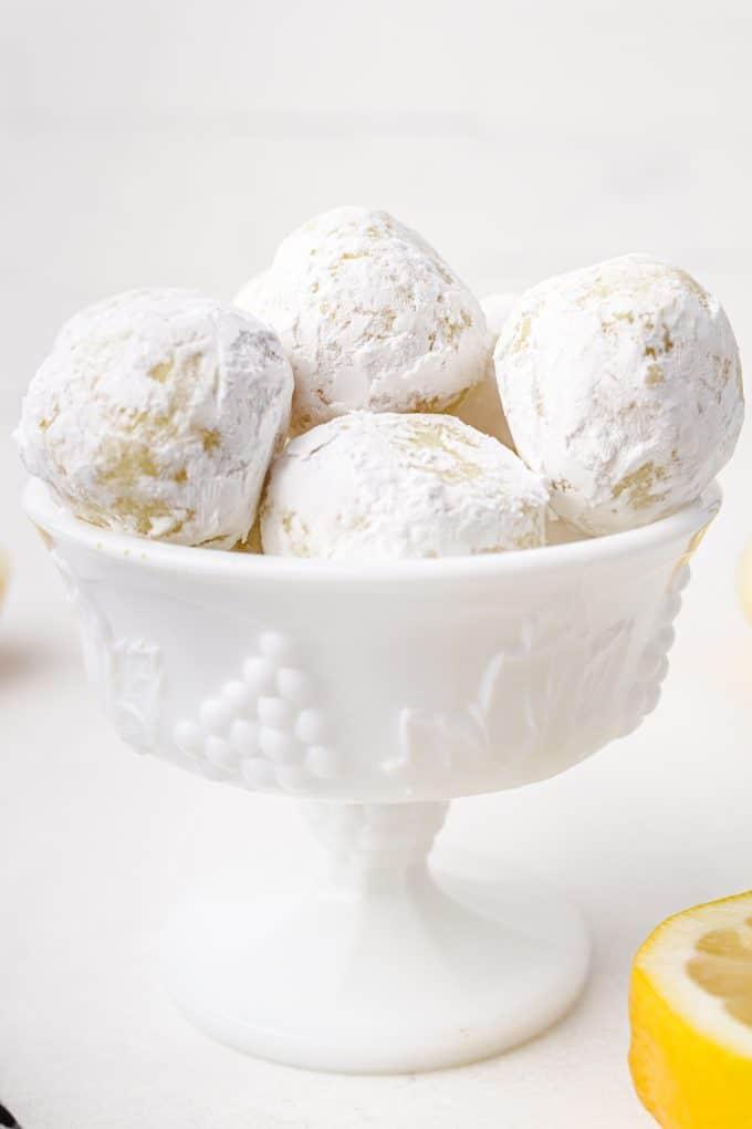 white chocolate lemon truffles in a bowl