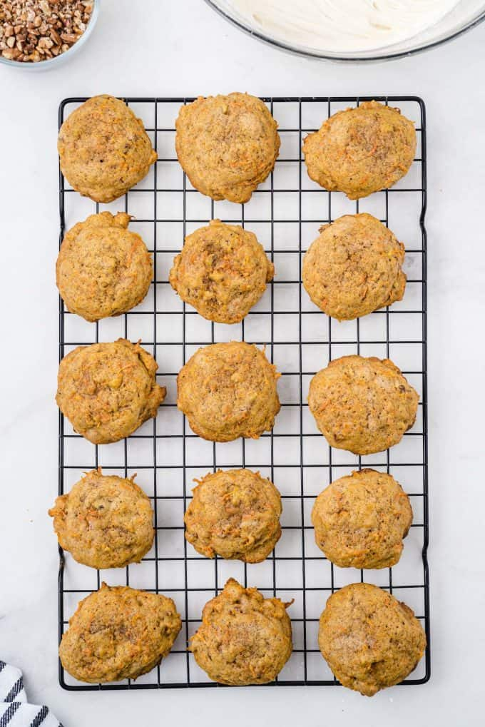 carrot cookies in a baking tray