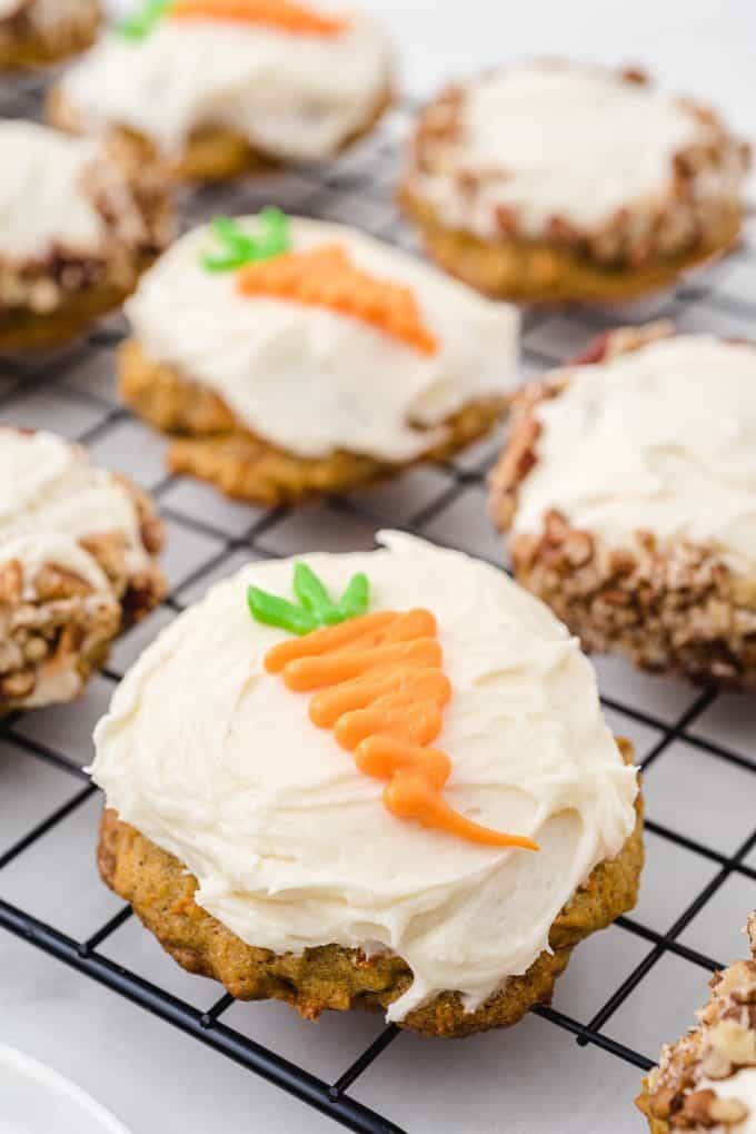 carrot cake cookies decorated with carrot