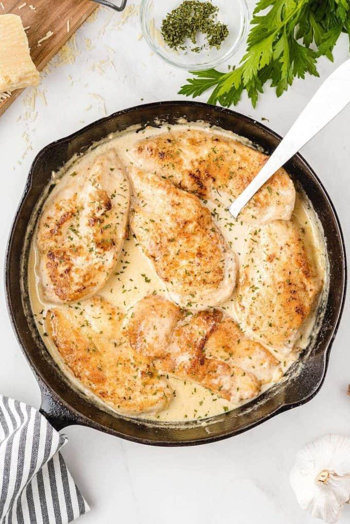 creamy garlic parmesan chicken in a bowl