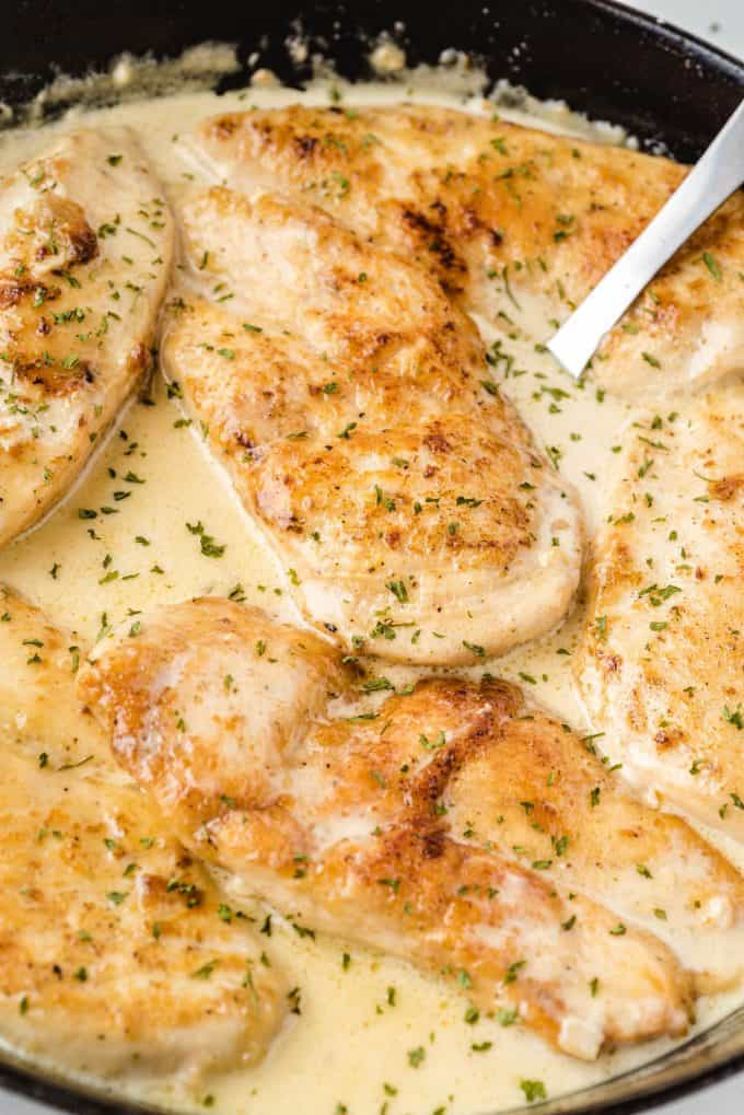 close up shot of creamy garlic parmesan chicken