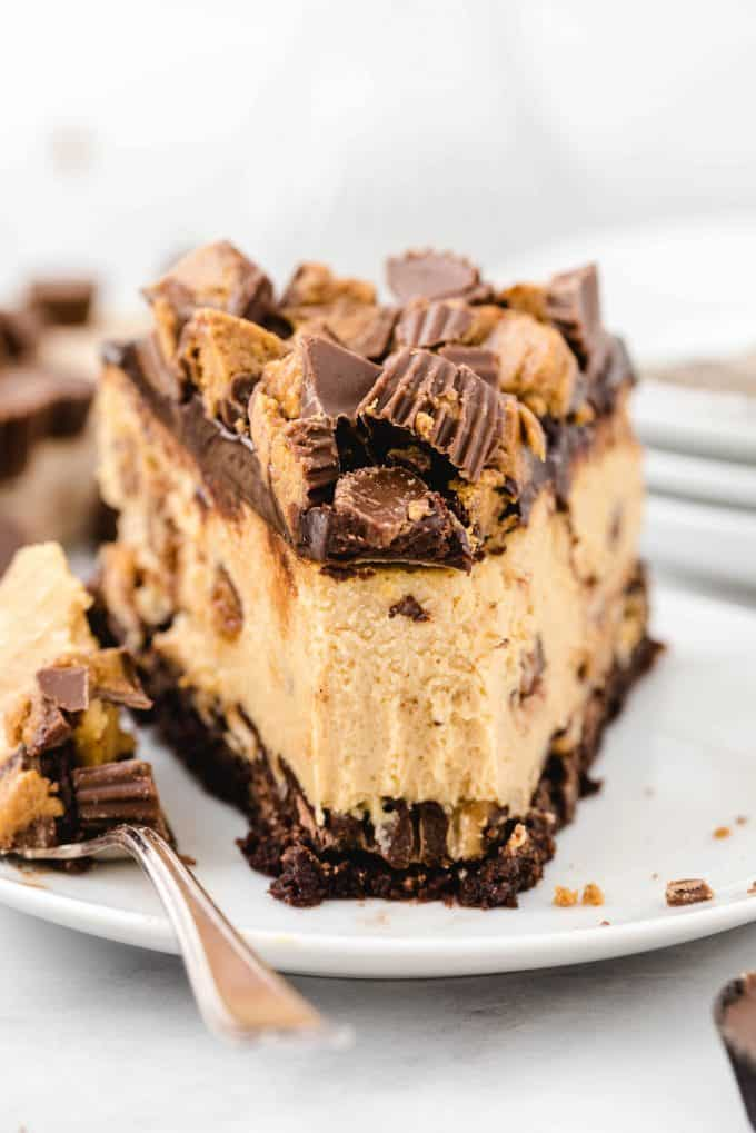 a slice of reese's cheesecake