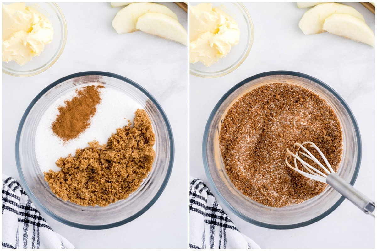 combine brown sugar, sugar, and cinnamon and mix together