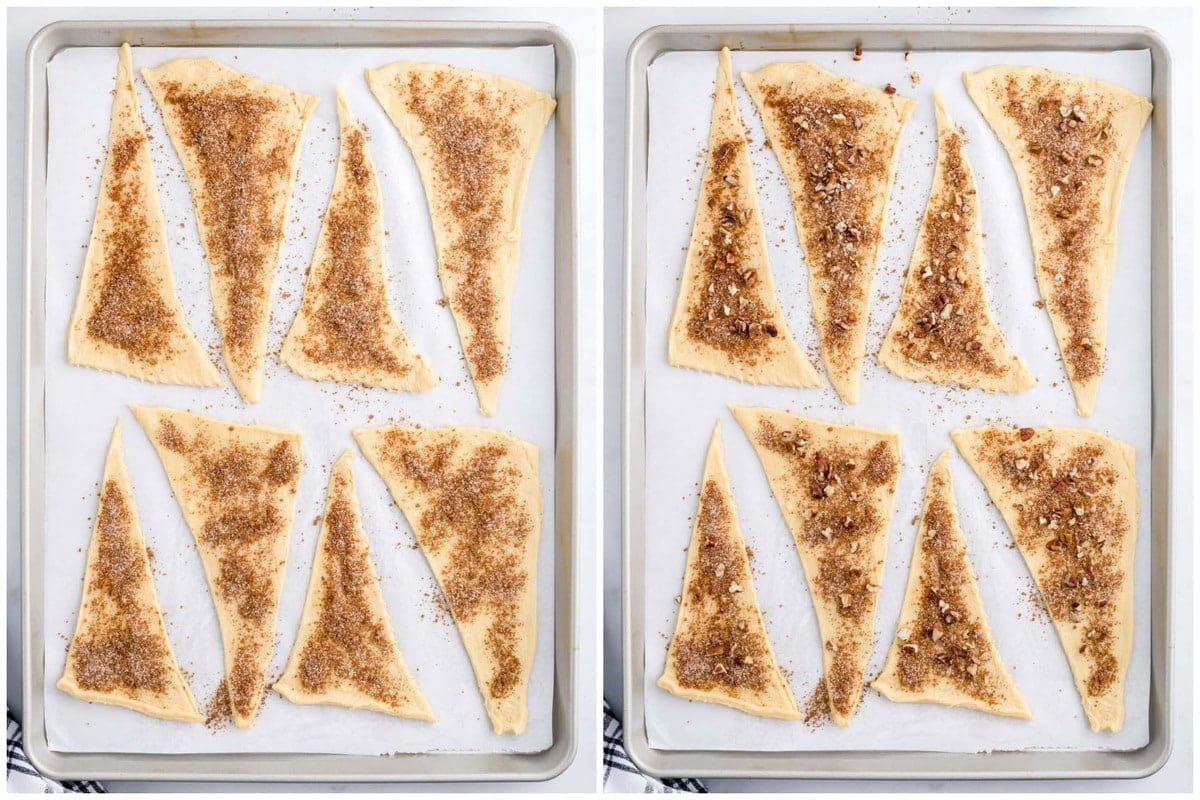 Sprinkle each triangle with cinnamon sugar mixture and chopped pecans.