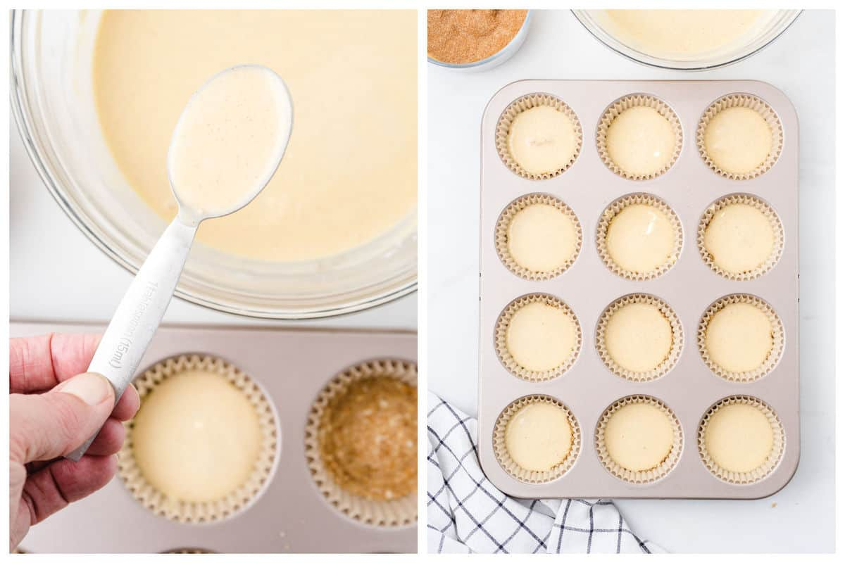 Spoon the cheesecake filling on top of each crust