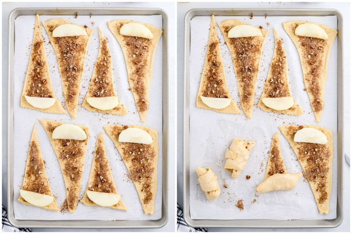 place one slice at the wider end of each crescent roll.