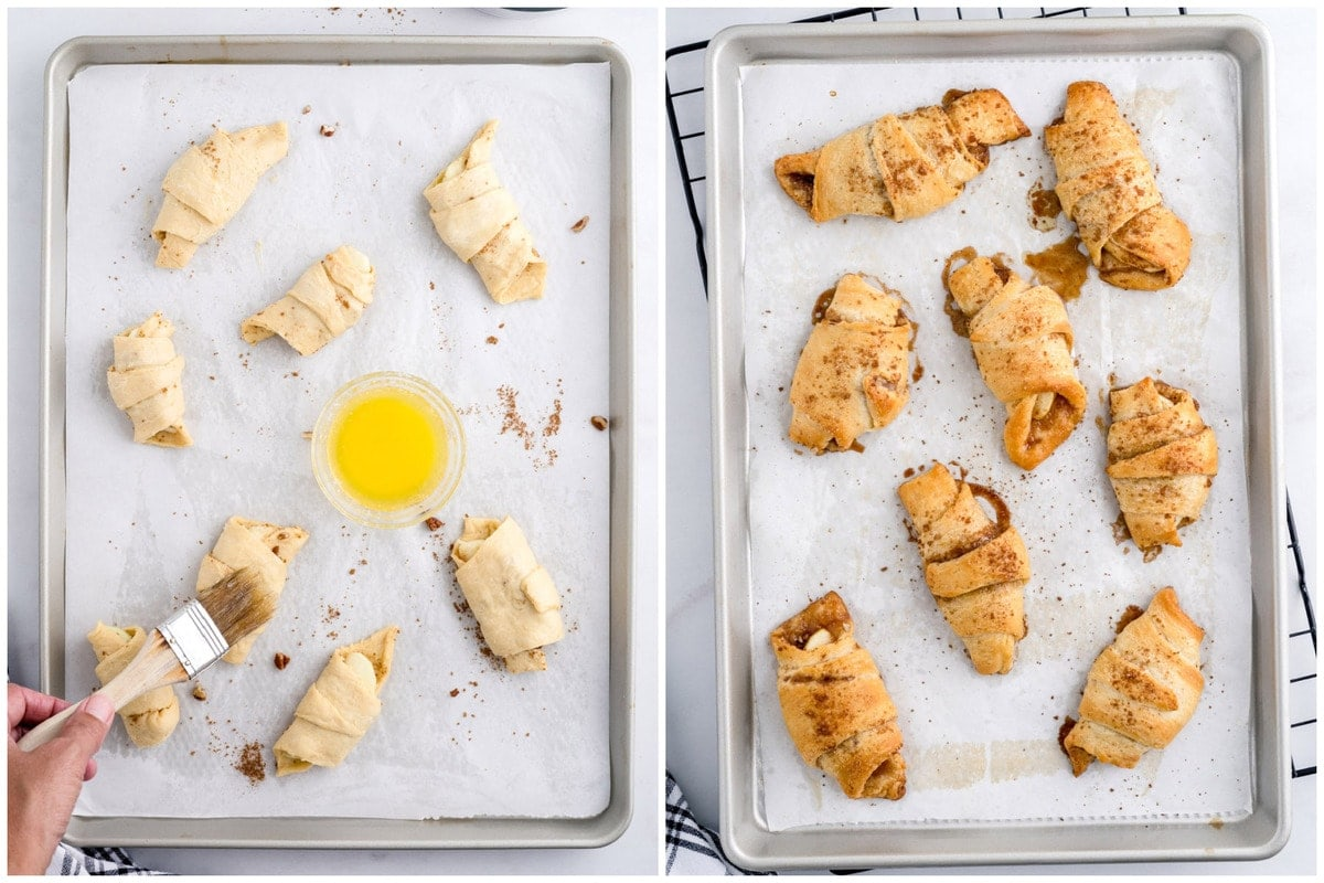 Lightly brush the tops of the crescent rolls with the remaining melted butter