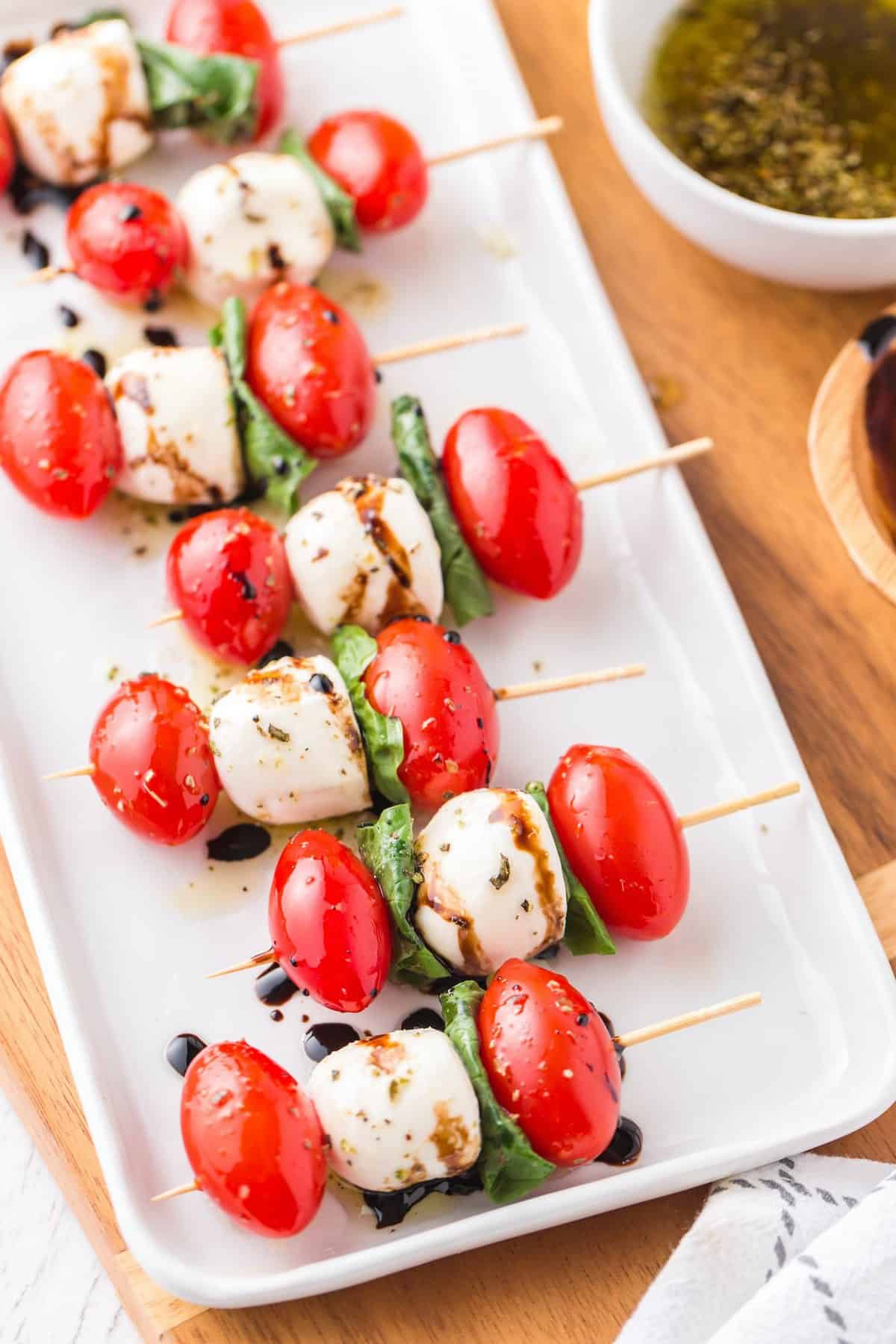 drizzle balsamic over the skewers