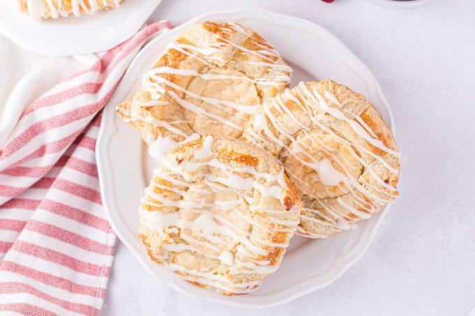 3 cream cheese danish on a plate