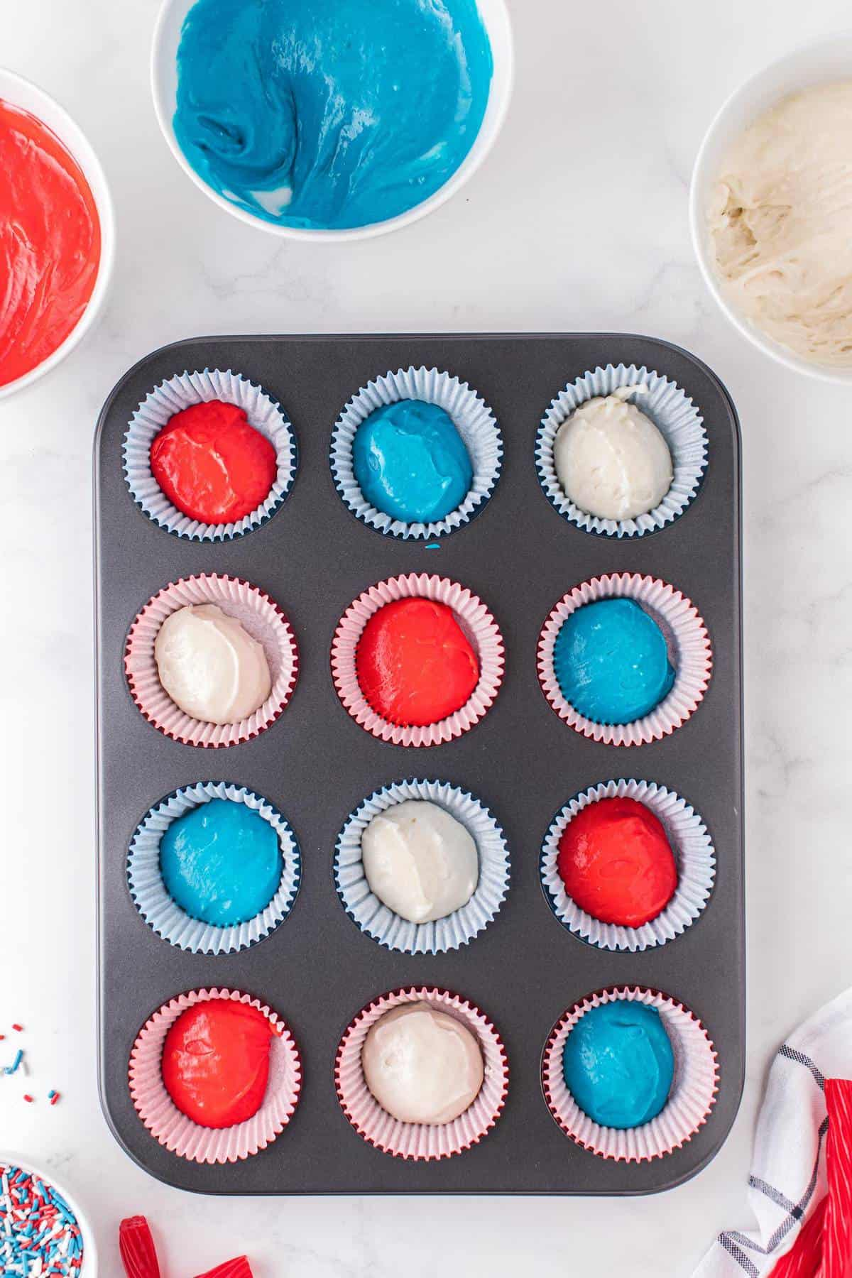 each batter color in the cupcake tins