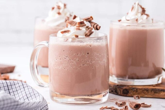frozen hot chocolate in a glass