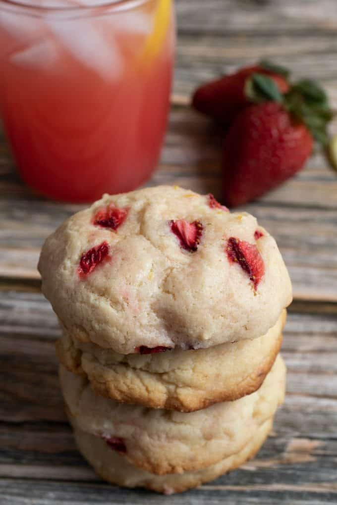 Stacked Strawberry Lemonade Cream Cheese Cookies