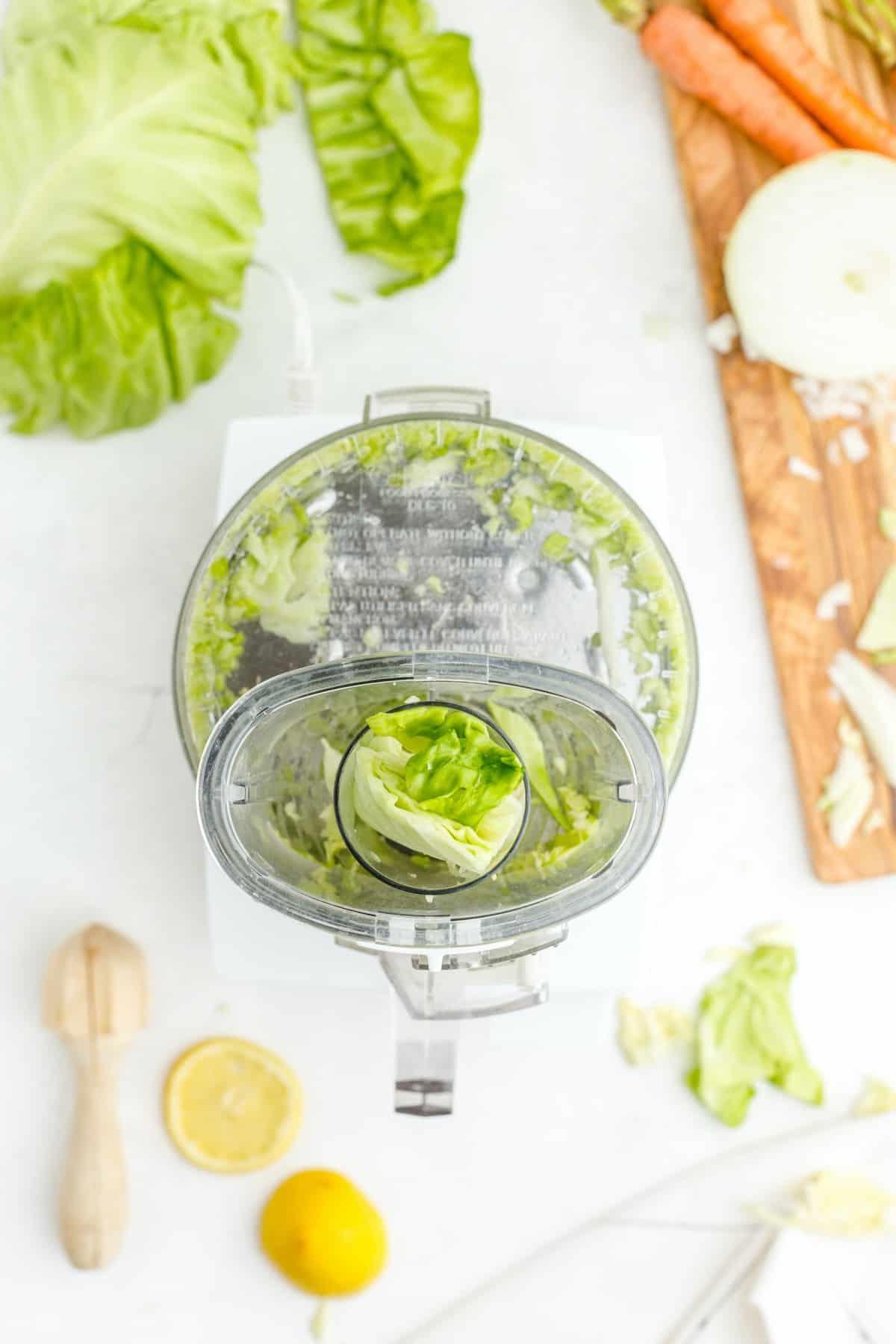 chop cabbage in a food processor