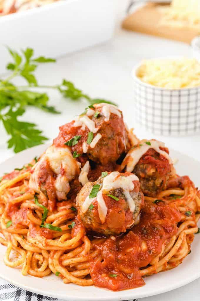 baked spaghetti and meatballs hero image