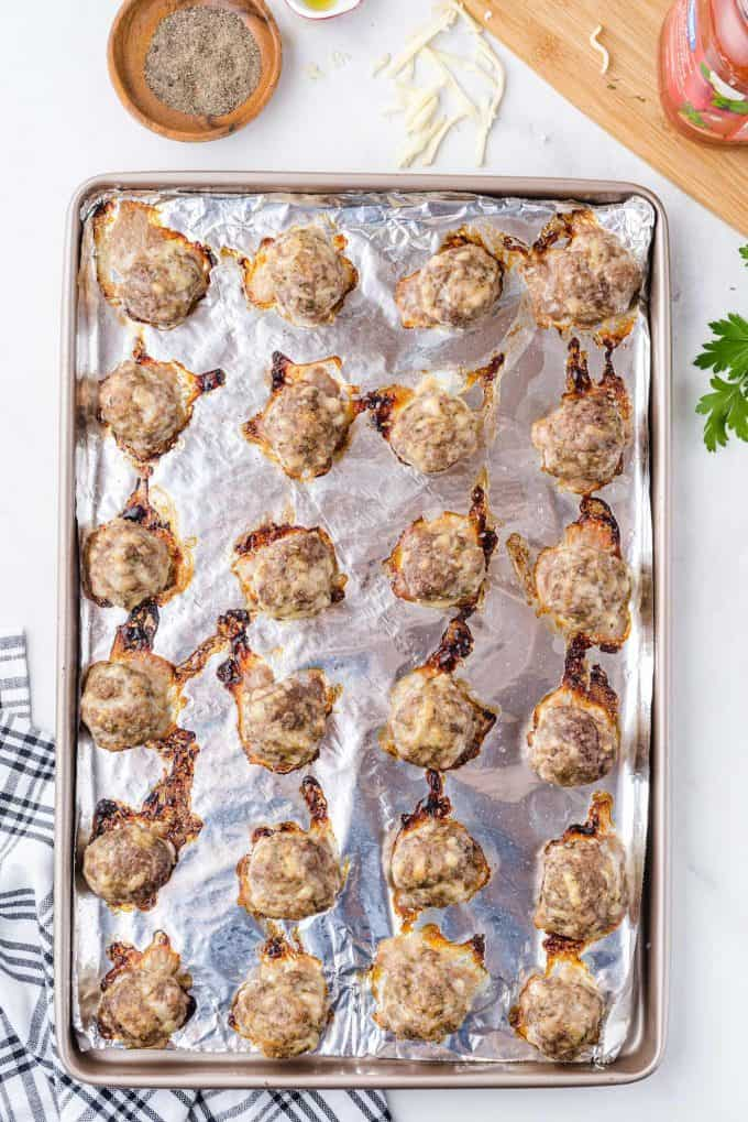 cooked meatballs in baking dish