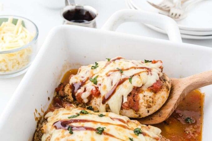 bruschetta chicken in a baking dish