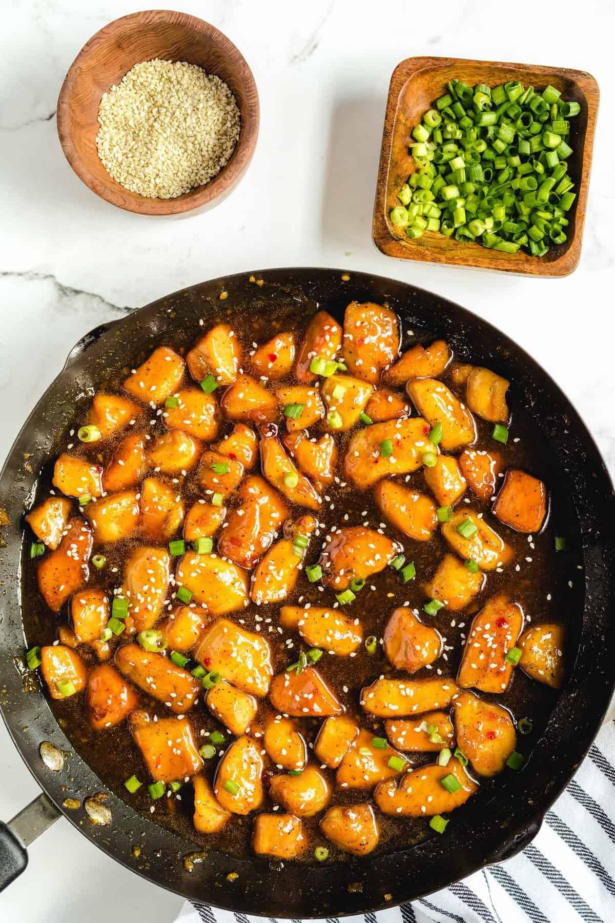 honey garlic chicken in a pan