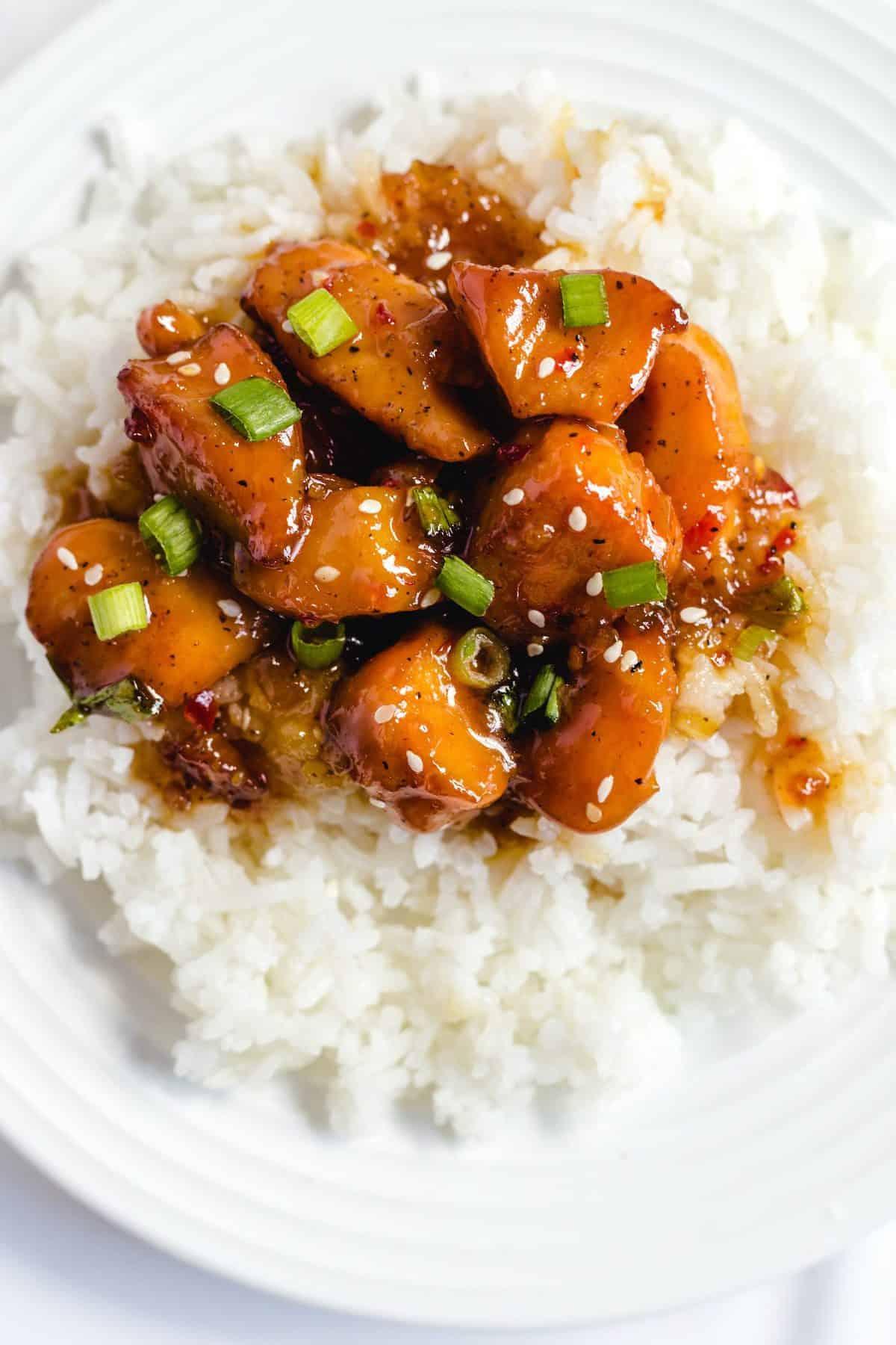 honey garlic chicken served with rice