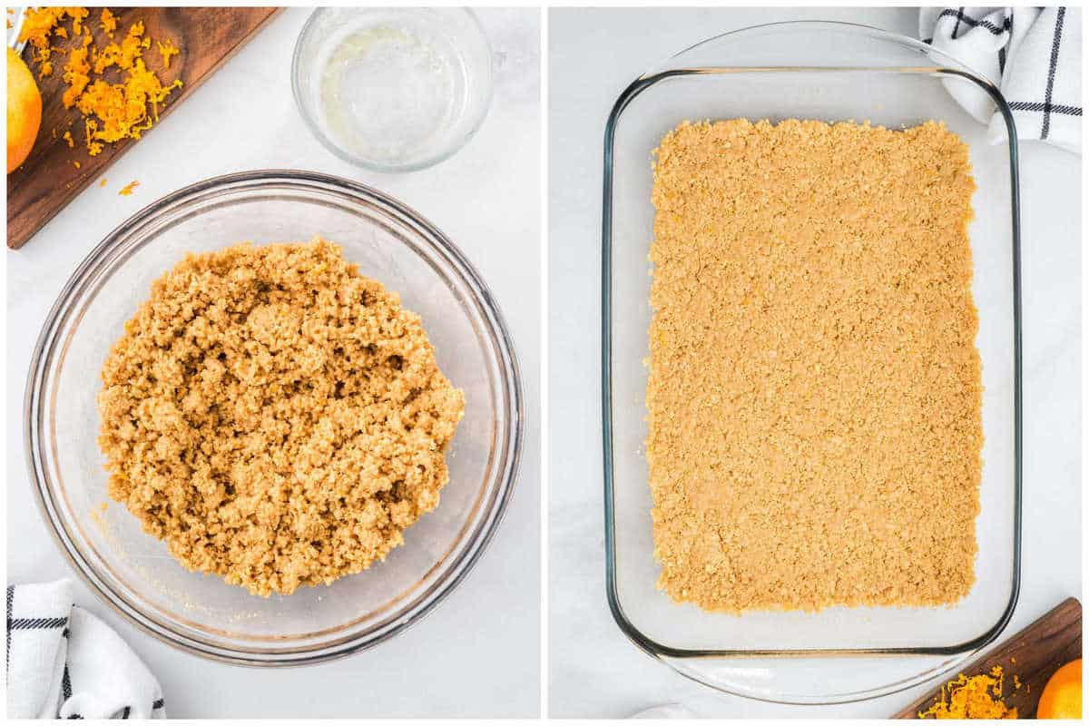 crushed cookies, melted butter, and orange zest in a bowl and spread at the bottom of baking dish