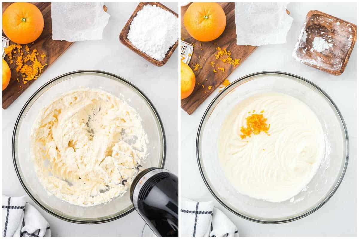 Beat together cream cheese, vanilla, powdered sugar. Fold in orange zest
