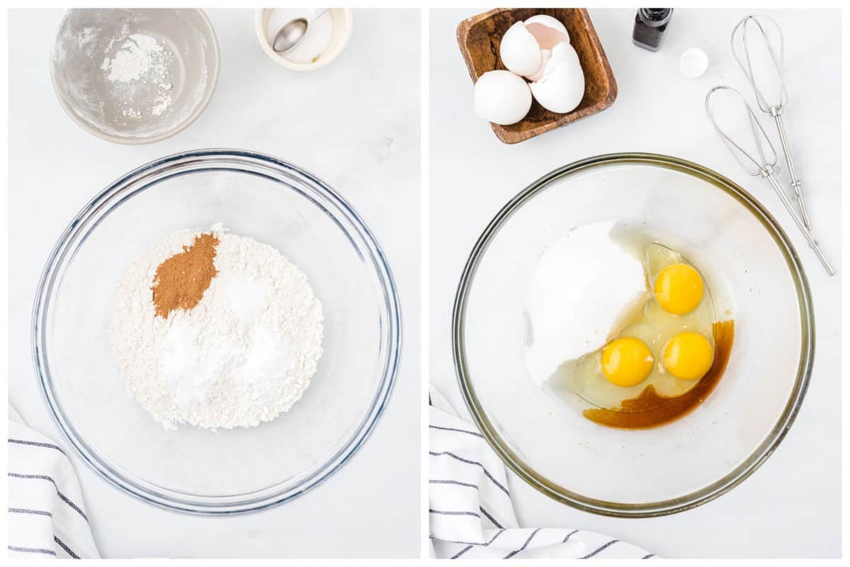 Whisk together flour, salt, baking soda and powder. Beat together the eggs, granulated sugar, and vanilla.