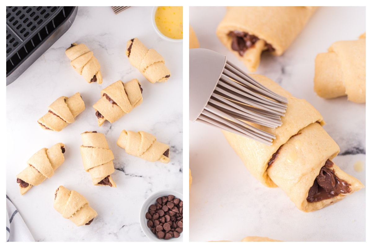 Roll the croissants and brush with egg wash
